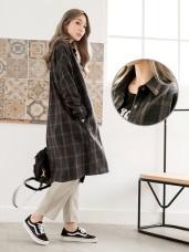 羊毛混紡格紋長版襯衫/外套