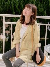 高含棉立領抽繩設計寬版風衣外套
