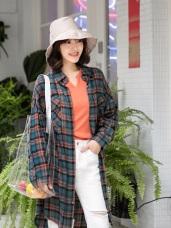 高含棉格紋寬鬆長版襯衫/外套