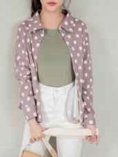 高含棉襯衫領點點印花排釦休閒外套