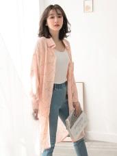 不易皺印花雪紡排釦長版襯衫外套