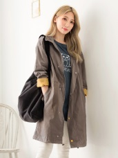 高含棉立領排釦拉鍊機能風衣外套