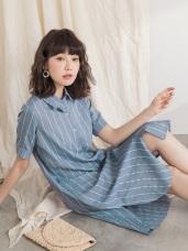 配色直條紋長版襯衫/洋裝/外套