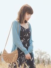 花朵刺繡輕薄針織外套