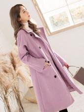 毛呢內鋪棉雙排釦長版大衣外套