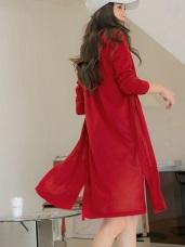 台灣製造.不易皺彈性薄針織連帽罩衫外套