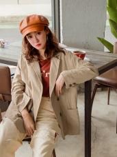 高含棉雙排釦寬鬆薄長袖西裝外套