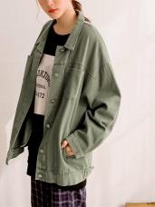 斜紋高含棉大口袋裝飾OVERSIZE長袖外套