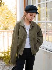 oversize高含棉雙口袋造型翻領長袖外套