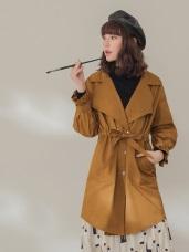 純色金屬排釦收腰綁帶修身風衣外套