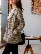 英倫復古格紋西裝外套