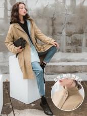 兩穿式高棉立領腰抽繩傘狀長版風衣外套
