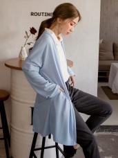 純色薄針織長版罩衫外套