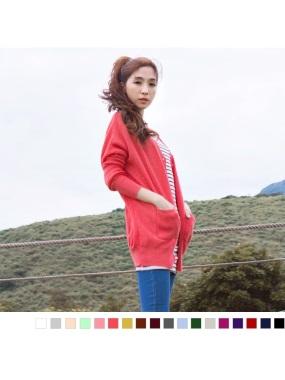素色細麻花針織外套.18色