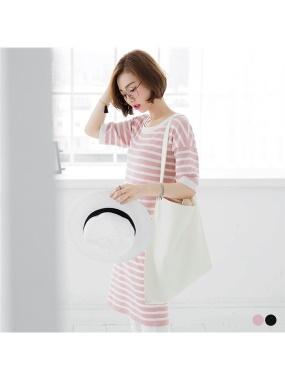 橫條紋細針織彈性圓領長版上衣/洋裝.2色
