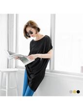 素色寬圓領細針織斜襬造型短袖長上衣.3色