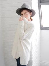 素色粗針織開襟落肩長袖長版外套.5色