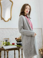 混色鏤空織紋長版針織外套