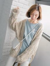 開襟落肩麻花混色針織毛外套.3色