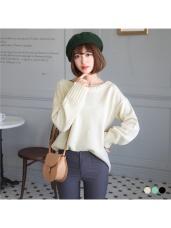 素色直織圓領彈性針織毛衣.3色