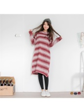 配色漸層寬條紋針織長版上衣/洋裝.3色