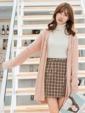 素色麻花開釦長版針織外套.3色