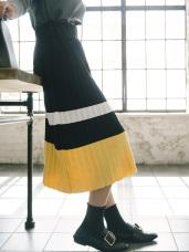 配色寬橫條百褶針織長裙