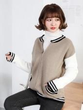 配色羅紋滾邊拉鍊設計針織棒球外套.2色