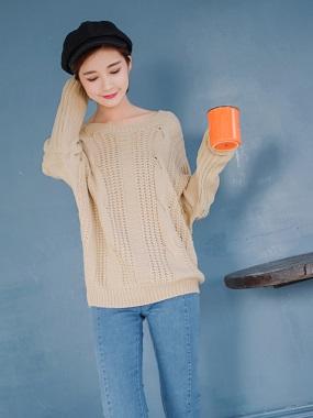 素色鏤空設計後交叉綁帶造型針織毛衣.3色
