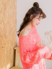 針織鏤空蕾絲燒花長版上衣.3色