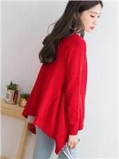 不規則下襬開襟針織素色外套.4色