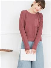 素色胸前口袋壓紋針織上衣