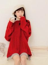純色羅紋編織設計寬鬆針織毛衣