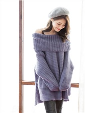 素色翻領多穿式長版開衩毛衣
