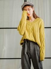 羅紋V領厚實寬鬆粗針織暖感毛衣