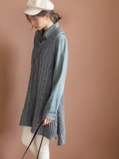 簡約風羅紋編織長版針織背心
