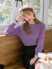 拋袖設計純色细針織毛衣