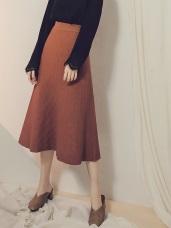 純色腰鬆緊直坑條針織圓裙