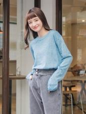 袖反褶混色細針織毛衣/上衣