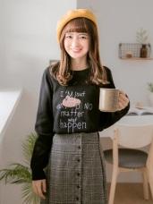 可愛草帽字母刺繡細針織毛衣