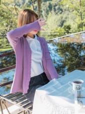 荷葉滾邊造型排釦細針織外套