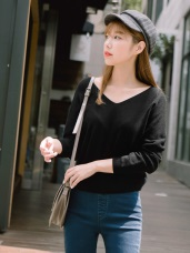 純色V領剪裁细針織毛衣上衣