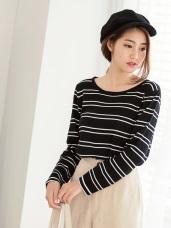 舒適休閒感條紋圓領針織上衣