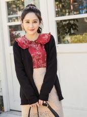 花朵刺繡包芯紗細針織排釦外套