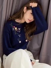 清新花朵電繡圓領針織毛衣