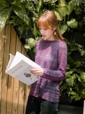 造型鏤空設計純色细針織毛衣