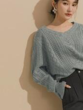 V領包心紗鏤空針織上衣