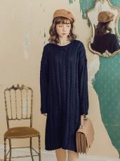純色厚麻花針織洋裝