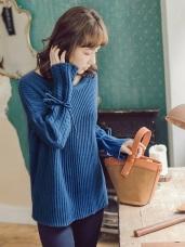 純色袖口綁帶麻花針織上衣
