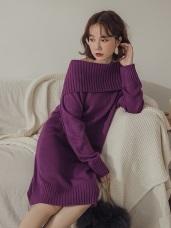 純色大翻領針織洋裝